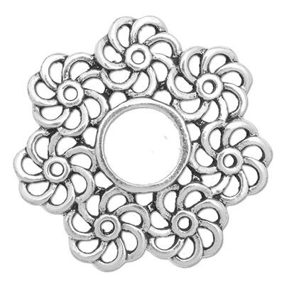 Wechselringe Metallscheibe Flor, versilbert