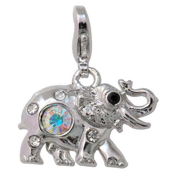 CLIXS Kettenanhänger Elefant, versilbert mit Strass