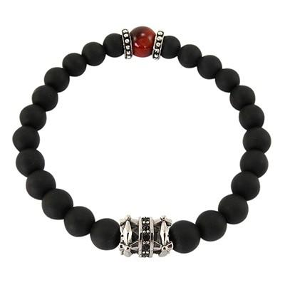URBAN ROCKS Armband schwarze Achatsteine, Tigerauge Rot, schwarze Zirkoniasteine, 8 mm