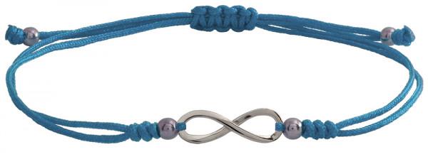 Wunscharmbändchen infinity Unendlichkeit • 925er Silber • Hellblau