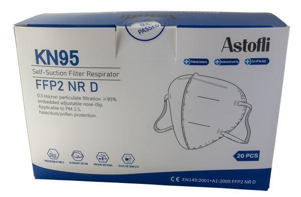 20 Atemschutzmasken KN95 FFP2 NR D mit Nasenclip - zertifiziert - Coronaschutz für die Mitmenschen