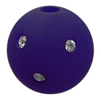 Polarisperle Kugel Montanablau, 16 mm mit Strass
