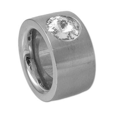Edelstahlring mit Swarovskikristall mattiert 14mm RB14-01
