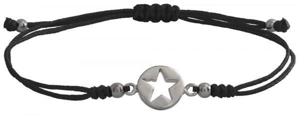 Wunscharmbändchen Stern im Kreis • 925er Silber • Schwarz