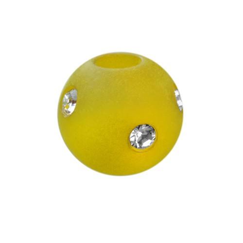 Polarisperle Kugel Gelb, 10mm mit Strass