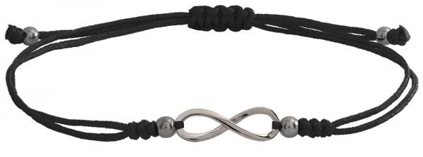 Wunscharmbändchen infinity Unendlichkeit • 925er Silber • Schwarz