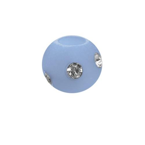 Polarisperle Kugel Hellblau, 8mm mit Strass