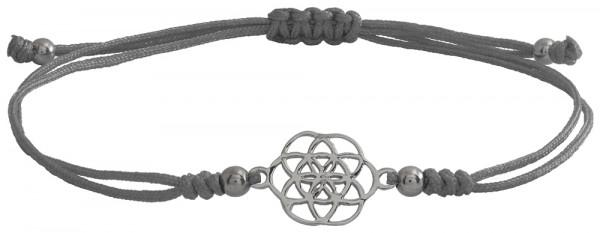 Wunscharmbändchen Mandala • 925er Silber • Grau