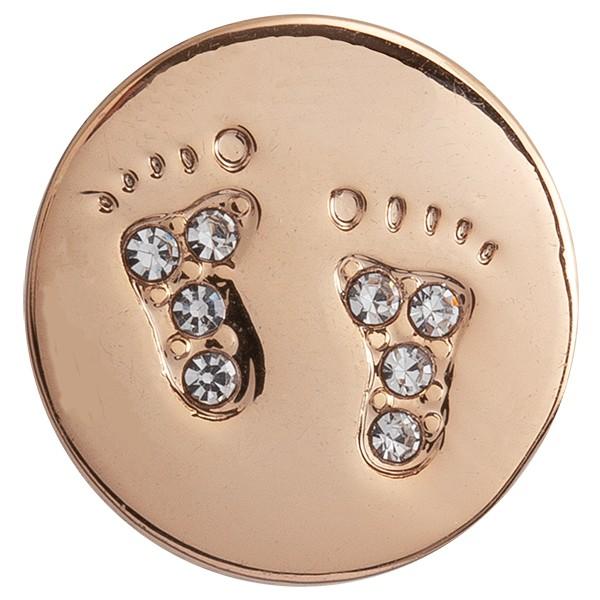 SlideOn Charm Fußabdruck mit Strass rosévergoldet • Slider für Mesh-Sammelarmband