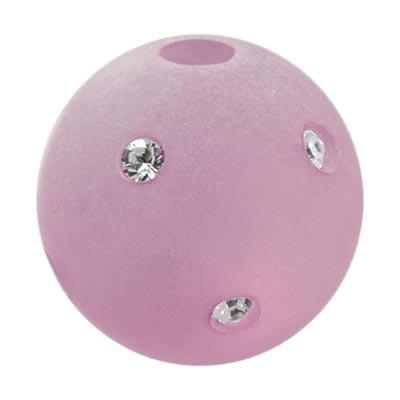 Polarisperle Kugel Rosa, 16mm mit Strass