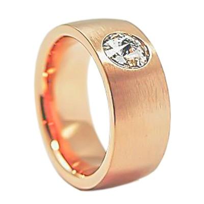 Edelstahlring rosévergoldet mit Swarovskikristall 8mm RB8-01R