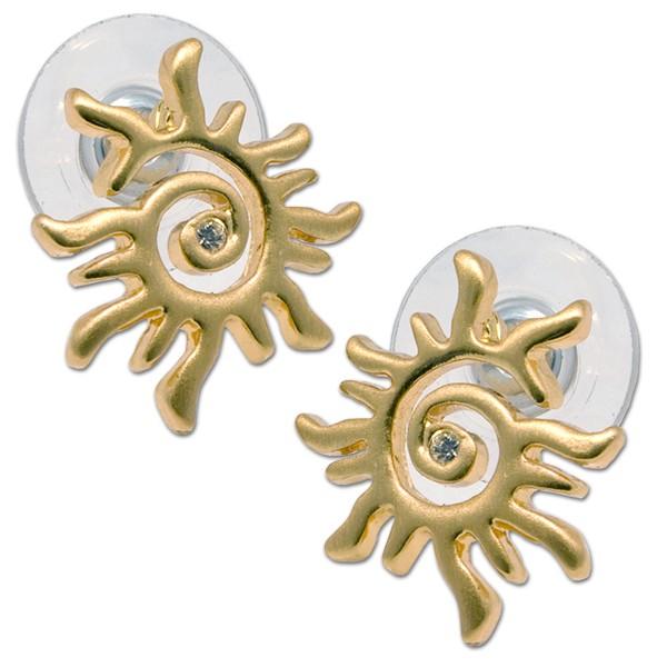 CLIXS Ohrringe Ohrstecker Spiralsonne, vergoldet mit Strass