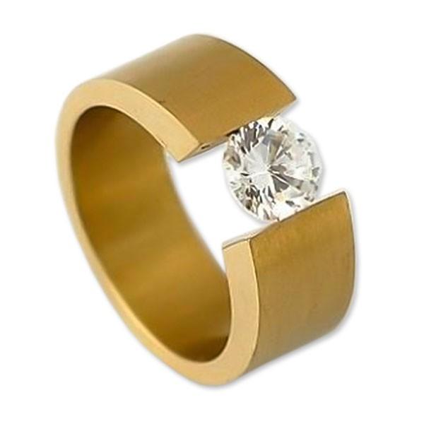 Edelstahlspannring mit Swarovskikristall rosévergoldet RH350R