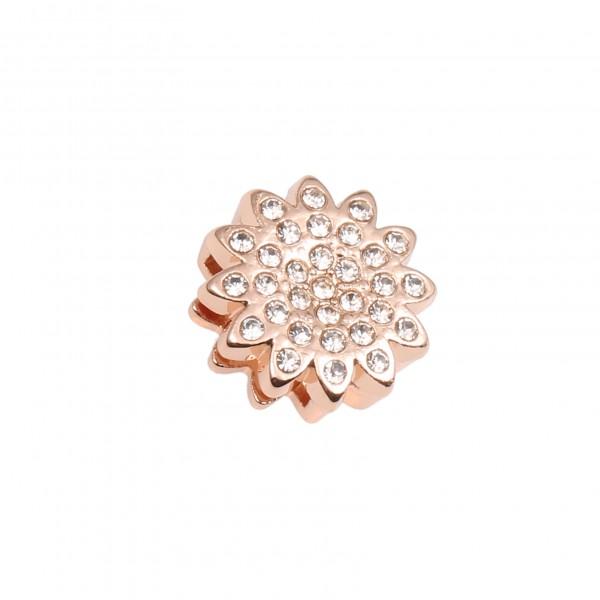 SlideOn Charm Blume mit Strass rosévergoldet • Slider für Mesh-Sammelarmband