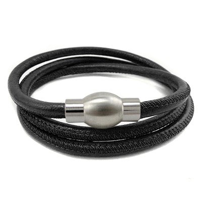 Balanxx BASIC Nappaleder Wickelarmband 3-fach, Schwarz, silberfarbener Magnetverschluss, 4mm, 56cm