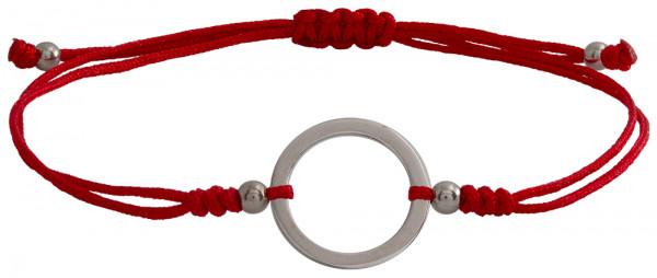 Wunscharmbändchen Großer Kreis • 925er Silber • Rot