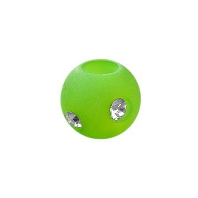 Polarisperle Kugel Hellgrün, 8mm mit Strass