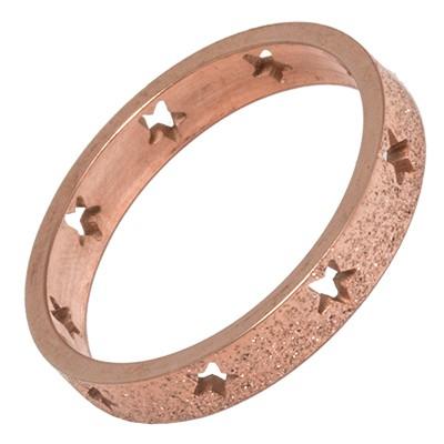 Carousel Innenring Edelstahl 4mm Sterne gestanzt rosévergoldet Glitter - Füllring für Carousel Basis