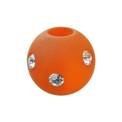 Polarisperle Kugel Orange, 10mm mit Strass