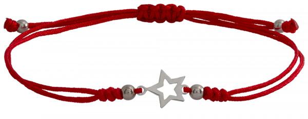 Wunscharmbändchen Stern Outline • 925er Silber • Rot
