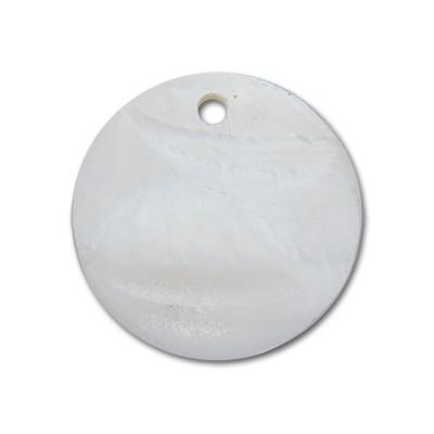 Edelstahlamulette Perlmuttscheibe 35mm - Weiß