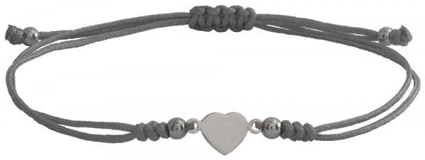 Wunscharmbändchen Herz • 925er Silber • Grau