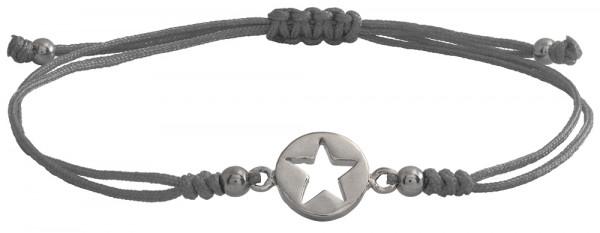Wunscharmbändchen Stern im Kreis • 925er Silber • Grau