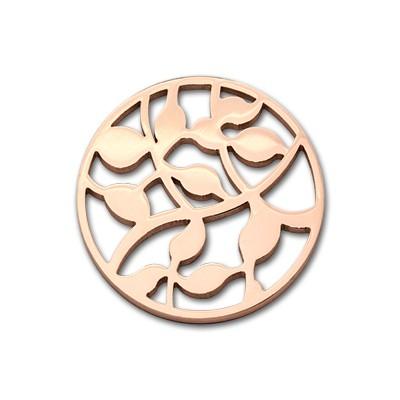 Edelstahlamulette Kettenanhänger Leaves 33mm - rosévergoldet