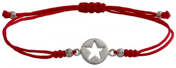 Wunscharmbändchen Stern im Kreis • 925er Silber • Rot