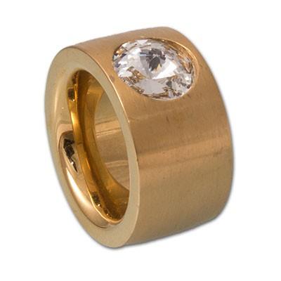 Edelstahlring rosévergoldet mit Swarovskikristall 14mm
