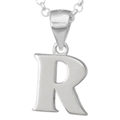Silber-Kettenanhänger • Buchstabe R • 925er Sterlingsiber