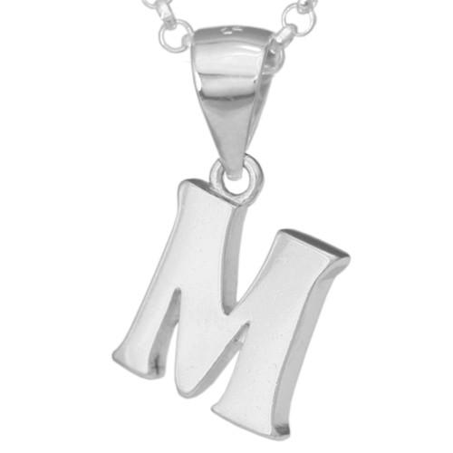 Silber-Kettenanhänger • Buchstabe M • 925er Sterlingsiber