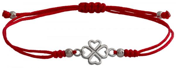 Wunscharmbändchen Kleeblatt • 925er Silber • Rot