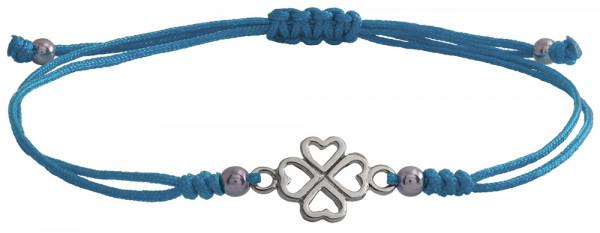 Wunscharmbändchen Kleeblatt • 925er Silber • Hellblau
