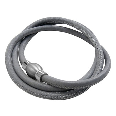 Balanxx BASIC Nappaleder Wickelarmband 3-fach, Grau, matt silberfarbener Magnetverschluss, 4mm, 56cm