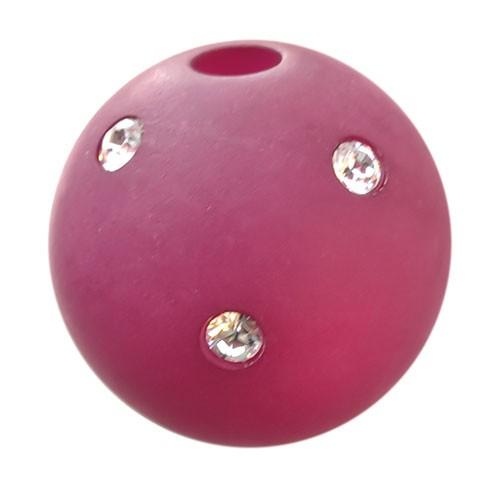 Polarisperle Kugel Pink, 16 mm mit Strass
