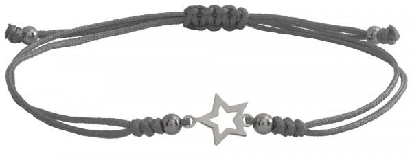 Wunscharmbändchen Stern Outline • 925er Silber • Grau