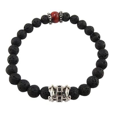 URBAN ROCKS Armband schwarze Lavasteine, Tigerauge Rot, schwarze Zirkoniasteine, 8 mm