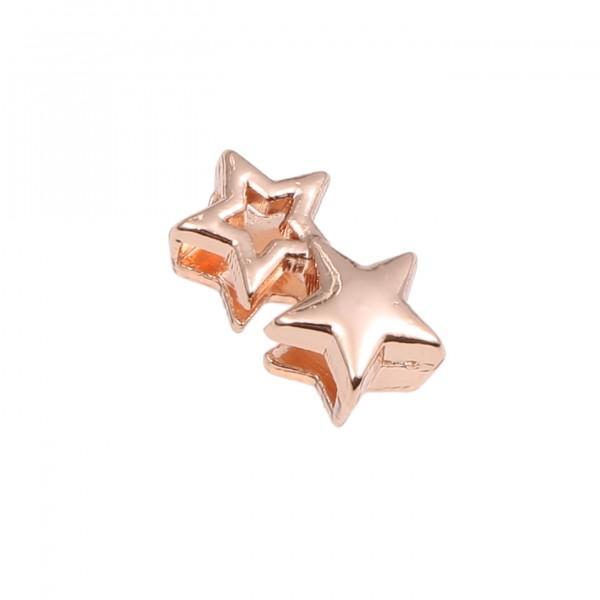 SlideOn Charm Doppelstern rosévergoldet • Slider für Mesh-Sammelarmband