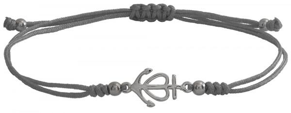 Wunscharmbändchen Anker mit Herz • 925er Silber • Grau