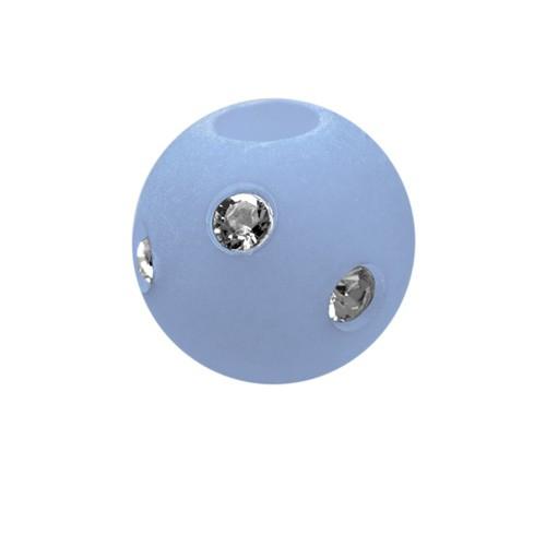 Polarisperle Kugel Hellblau, 10mm mit Strass