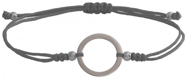Wunscharmbändchen Großer Kreis • 925er Silber • Grau