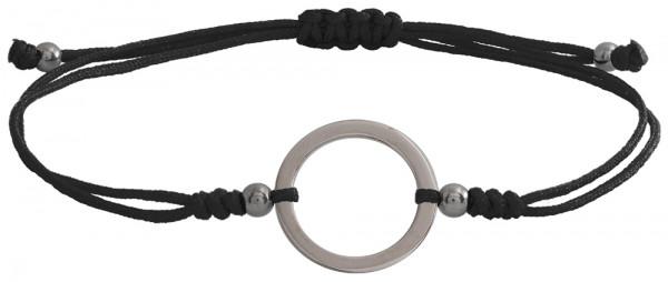 Wunscharmbändchen Großer Kreis • 925er Silber • Schwarz