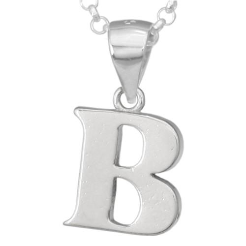 Silber-Kettenanhänger • Buchstabe B • 925er Sterlingsiber