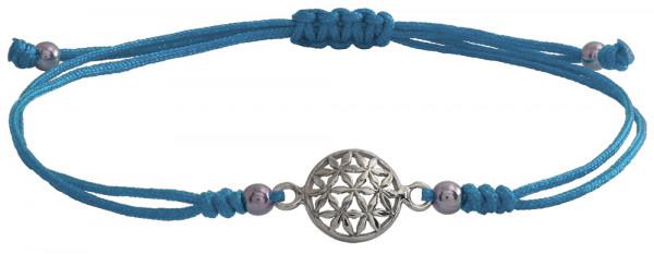 Wunscharmbändchen Blume des Lebens • 925er Silber • Hellblau