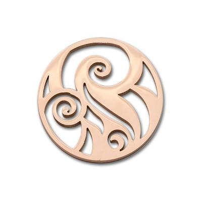 Edelstahlamulette Kettenanhänger Spiral 33mm - rosévergoldet