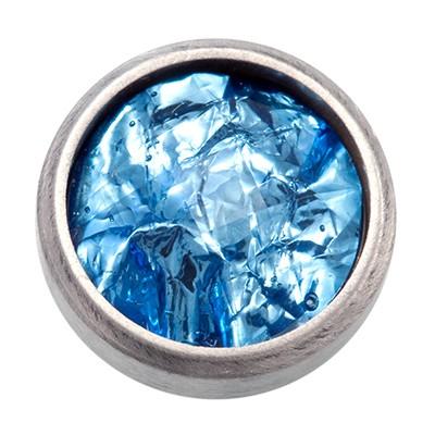Wechselringe Top mit Glitzerfolie Blau, 12 mm