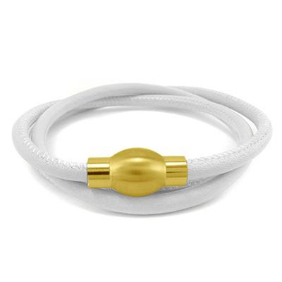 Balanxx BASIC Nappaleder Wickelarmband 3-fach, Weiß, goldfarbener Magnetverschluss, 4mm, 56cm