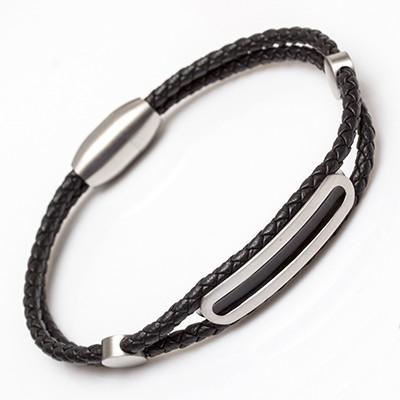 Kunstlederarmband Tsumis Edelstahl mit Magnetverschluss - Längen 19cm bis 23cm