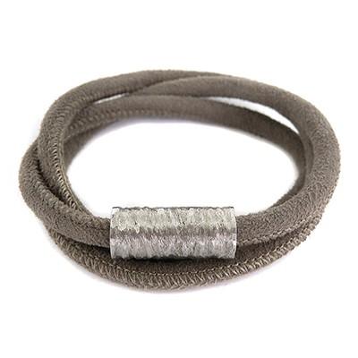 Balanxx CRAG Velourleder Wickelarmband 3-fach, Grau, silberfarbener Magnetverschluss, 56cm